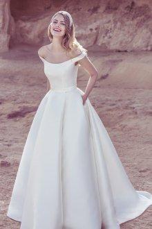 Атласное свадебное платье ретро