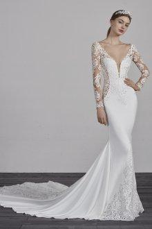 Атласное свадебное платье русалка кружевное