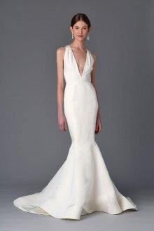 Атласное свадебное платье русалка летнее