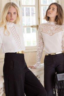 Блузка прозрачная белая кружевная