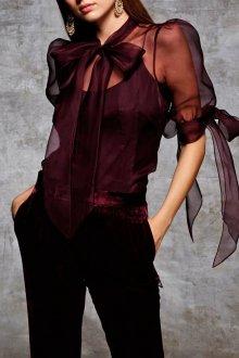 Блузка прозрачная бордовая
