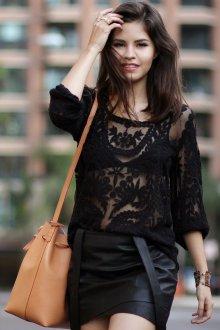 Блузка прозрачная черная ажурная