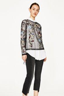 Блузка прозрачная с цветочной вышивкой