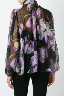 Блузка прозрачная с крупным принтом
