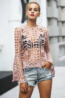 Блузка прозрачная кружевная из хлопка