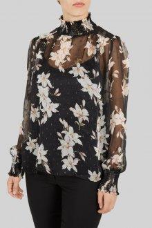 Блузка прозрачная с лилиями