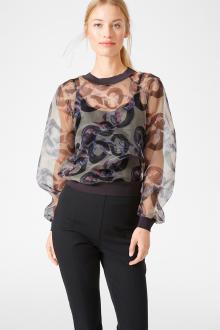 Блузка прозрачная с принтом