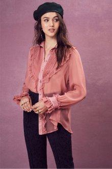 Блузка прозрачная пудровая