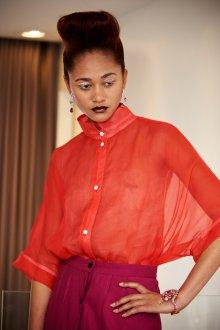 Блузка прозрачная с воротником стойкой