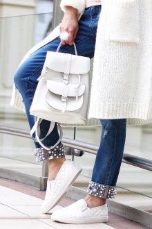 Белый рюкзак с карманами