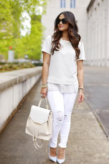 Белый рюкзак из кожзама