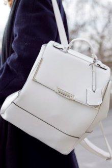 Белый рюкзак из натуральной кожи