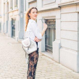 Белый рюкзак серебряный