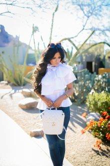 Белый рюкзак стеганый