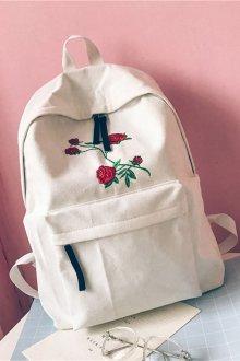 Белый рюкзак с вышивкой