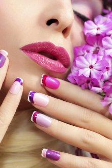 Фиолетовый френч разноцветный
