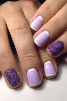 Фиолетовый френч песочный