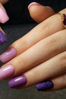 Фиолетовый маникюр омбре в пастельных тонах