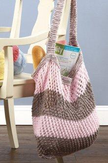 Вязаная сумка серо-розовая
