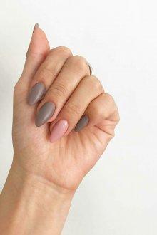 Миндалевидный маникюр серый матовый