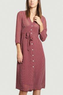 Платье в горошек красное миди