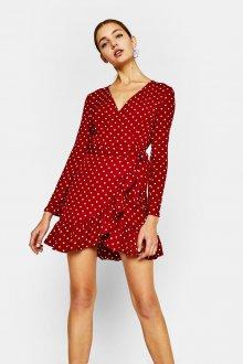 Платье в горошек красное