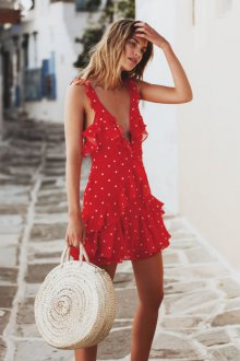 Платье в горошек открытое