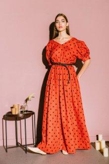 Платье в горошек оверсайз льняное