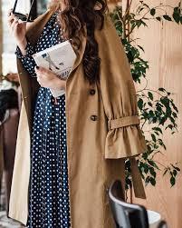 Платье в горошек с пальто