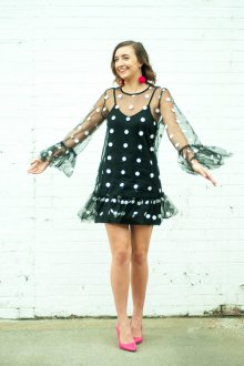 Платье в горошек прозрачное