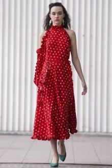 Платье в горошек красное с рюшами