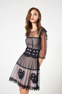 Платье в горошек с сеткой