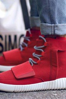 Красные кеды высокие текстильные