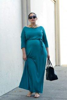 Платье для женщин с животом бирюзовое