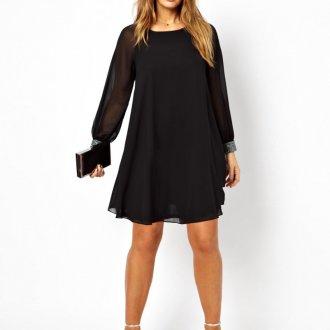 Платье для женщин с животом черное