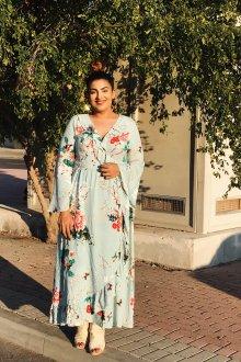 Платье для женщин с животом голубое