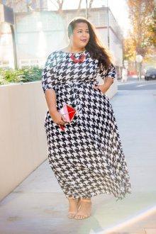 Платье для женщин с животом гусиная лапка