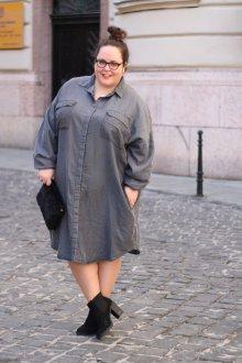 Платье для женщин с животом серое