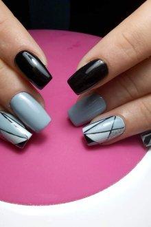 Маникюр на длинные ногти геометрический