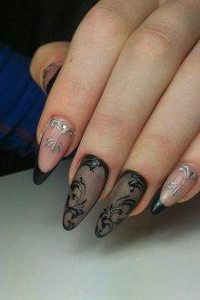 Маникюр на длинные ногти кружевной