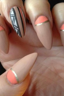 Маникюр на длинные ногти летний