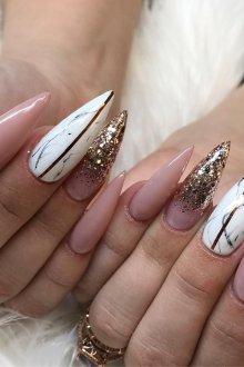 Маникюр на длинные ногти острые