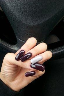 Маникюр на длинные ногти темный