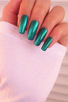 Маникюр на длинные ногти зеленые