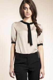 Блузка с коротким рукавом атласная деловая