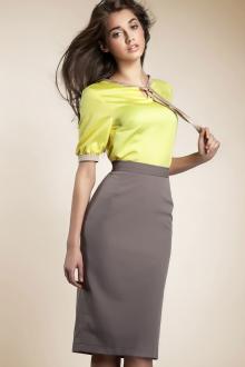 Блузка с коротким рукавом атласная желтая