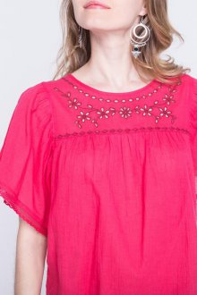 Блузка с коротким рукавом ажурная