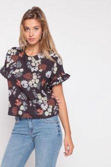 Блузка с коротким рукавом цветочная