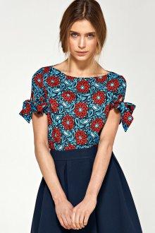 Блузка с коротким рукавом с цветами