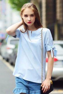 Блузка с коротким рукавом голубая